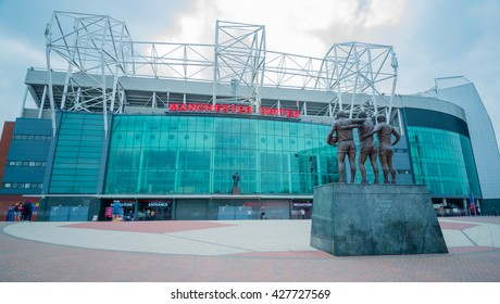 MANCHESTER, UNITED KINGDOM -28 MAY 2016: The entrance of the Old Trafford stadium . Old Trafford is the home stadium of Manchester United Football Club since 1910.