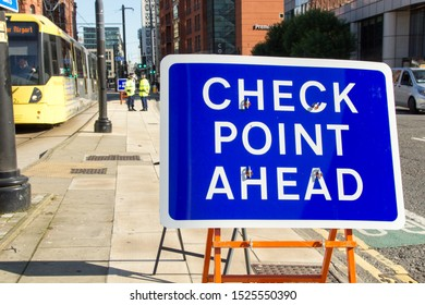 Manchester, United Kingdom - 2nd Oct 2019: Police check point sign near to the prime ministers conference with two police officers on guard.
