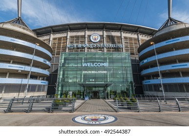 MANCHESTER, UNITED KINGDOM - 3 OCT 2016: Etihad Stadium is the home ground of Manchester City FC. It is the fourth-largest stadium in the Premier League and eighth-largest in the United Kingdom