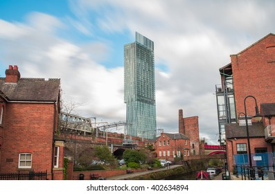 MANCHESTER, UNITED KINGDOM - 5 APRIL 2016: View of Beetham Tower taken from Castlefield, Manchester. Beetham Tower is the tallest building in Manchester.