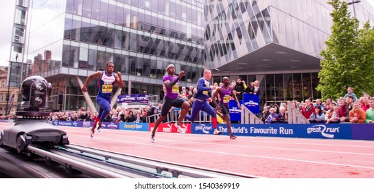 Manchester, United Kingdom - 9th May 2015 Male athletes running in the Manchester Games.