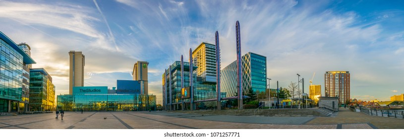 MANCHESTER, UNITED KINGDOM, APRIL 11, 2017: Media City UK in Manchester during sunset, England