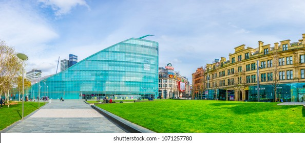 MANCHESTER, UNITED KINGDOM, APRIL 11, 2017: View of the National football museum in Manchester, England