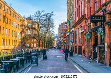 MANCHESTER, UNITED KINGDOM, APRIL 11, 2017: View of the Gay village alongside Canal street in Manchester, England
