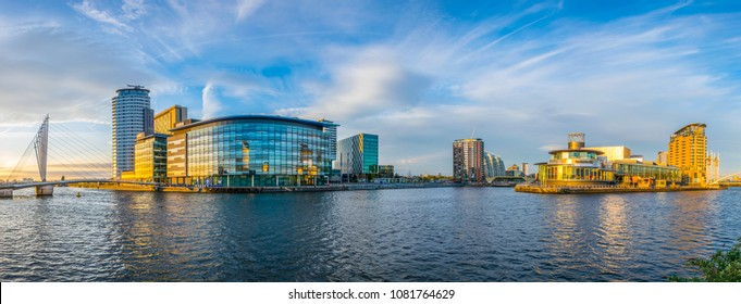 MANCHESTER, UNITED KINGDOM, APRIL 11, 2017: View of the Lowry theater and the mediacity UK in Manchester, England