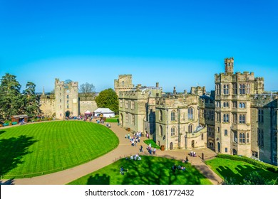 MANCHESTER, UNITED KINGDOM, APRIL 11, 2017: Courtyard of the Warwick castle, England