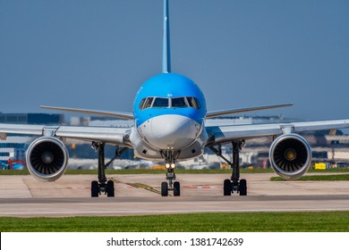 MANCHESTER, UNITED KINGDOM - APRIL 20, 2019: Front view of a Boeing 757-28A aircraft
