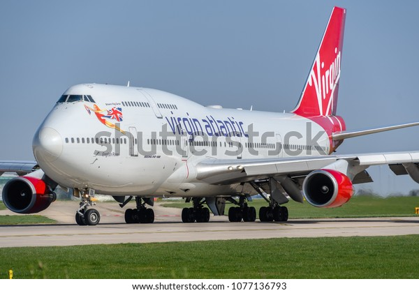 MANCHESTER, UNITED KINGDOM - APRIL 21st, 2018:  Virgin Atlantic Boeing 747 ready to depart at Manchester Airport