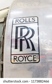 Manchester, United Kingdom - April 6 2018: Rolls Royce logo on the side of a aircraft jet engine. The company was established in 1884 and today is one of worlds leading aerospace systems manufacturers