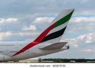 MANCHESTER, UNITED KINGDOM - AUG 07, 2015: Emirates Airbus A380 tail livery at Manchester Airport Aug 07 2015.