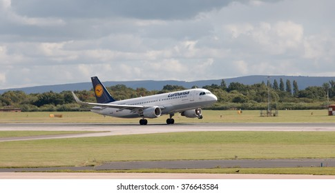 Manchester, United Kingdom - August 27, 2015: Lufthansa Airbus A320 -200 passenger plane taking off from Manchester International Airport.