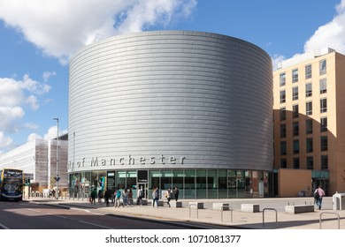 Manchester, United Kingdom - August 4, 2017: The large, drum-shaped building of The University of Manchester, University Place, Oxford Road, Manchester.