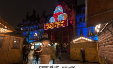 MANCHESTER, UNITED KINGDOM - DEC 13 2016: The Christmas Markets at the city center of Manchester.