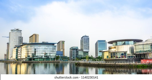 Manchester, United Kingdom / England - June 10 2018: View of Media City UK (Salford, MediaCityUK) and main office of BBC
