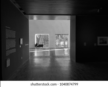 Manchester, United Kingdom - February 9, 2018: Interiors of the Whitworth Art Gallery facing towards Whitworth Park. Founded in 1889, the Whitworth has more recently been transformed by a £15m project