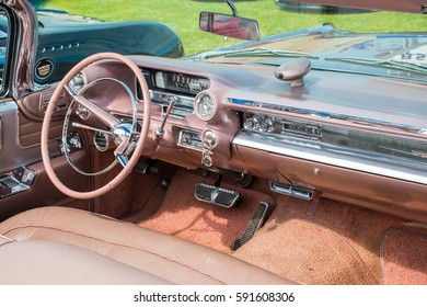 MANCHESTER, UNITED KINGDOM - JULY 11, 2015: A Cadillac Eldorado classic car dashboard. July 2015.