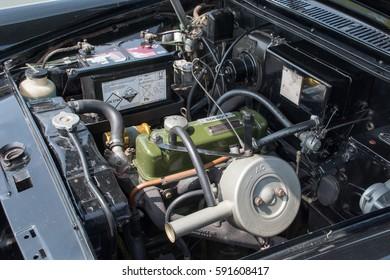 MANCHESTER, UNITED KINGDOM - JULY 11, 2015: A 1959 Morris Oxford Mark V classic car engine. July 2015.