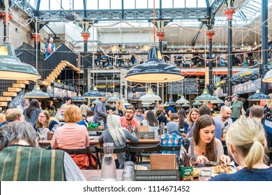 Manchester, United Kingdom - June 02, 2018: Mackie Mayor -  1858 Grade II listed market building turned into a restaurant and food hall