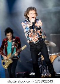 Manchester, United Kingdom - June 05, 2018: Mick Jagger from The Rolling Stones playing at Old Trafford Stadium in Manchester.