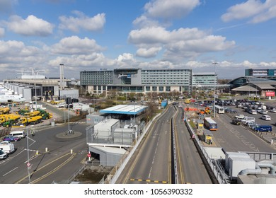 Manchester United Kingdom - March 25 2018: Radisson Blu one of 287 hotels operated by the Carlson Rezidor Hotel Group this one is at Manchester airport terminal