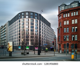 MANCHESTER, UNITED KINGDOM - MARCH23, 2018: Empty streets in Manchester center in early weekend morning