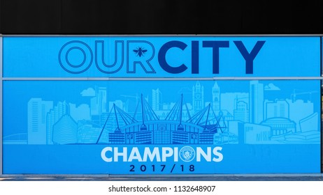 MANCHESTER, UNITED KINGDOM - MAY 19 2018: Grafitti on the wall of Manchester City Football Club celebrates the premiereship victory at Etihad Stadium, its own home ground.