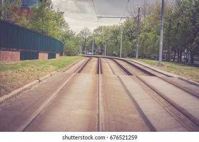 Manchester, United Kingdom Metrolink trams .
