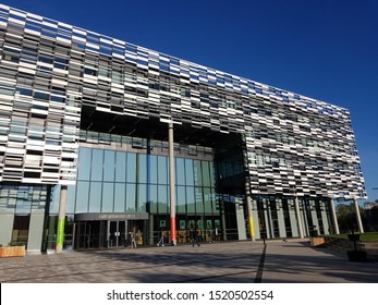 """Manchester, United Kingdom - October 2 2019: """"Brooks building of Manchester Metropolitan University houses the faculty of health, psychology and social care."""""""