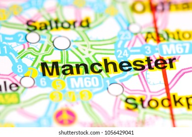 Manchester. United Kingdom on a map