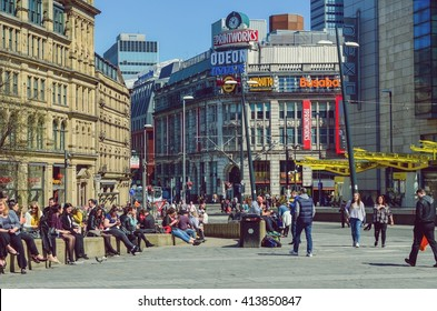 Manchester, The United Kingdom. People relaxing at the city center. Taken on 2016/04/20