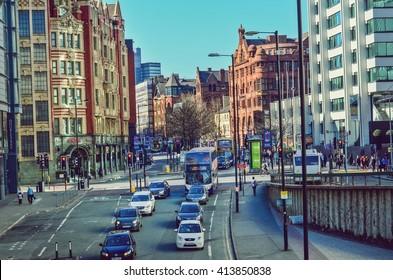 Manchester, United Kingdom. Rush hour in Manchester city center. Taken on 2016/04/20