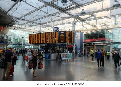 """Manchester, United Kingdom- September 1,2018: A number of train delay to Manchester Piccadilly are worrying for some people this year. It will effect millions of people daily"""