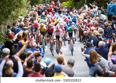 Manchester, United Kingdom-September 14. Peloton with race leader Mathieu Van Der Poel climb Ramsbottom Rake on stage 8 of the 16th Tour of Britain on September 14, 2019 in Manchester, United Kingdom