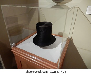 Manchester, VT / USA - June 20, 2016: One of the few surviving stovetop hats worn by President Abraham Lincoln resides in Hildine, the family home of his son, Robert Lincoln, in Manchester, VT.