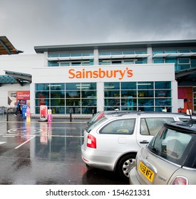 MANCHESTER-SEP 16: Sainsbury's Store on September 16, 2013 in Manchester (Ashton-under-Lyne), England, UK. Sainsbury's is one of the largest chains of supermarkets in the United Kingdom.