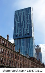 MANCHESTER,UK - AUGUST 10, 2018: Beetham Tower, a 47-storey skyscraper designed by Ian Simpson. This is the tallest building in Manchester, built in 2006.