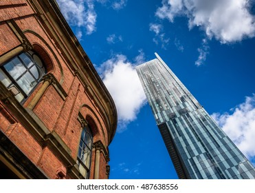 Manchester,Uk - July 13, 2016: Beetham Tower, the tallest building in Manchester juxtaposed against a Victorian red brick building.