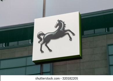 Manchester,UK - July 2nd 2015: LLoyds Bank is a high street bank that is largely now owned by the UK Government.  The black horse logo has become famous