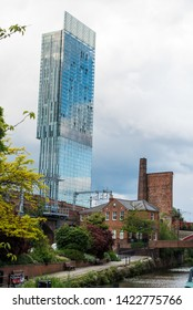 MANCHESTER,UK - JUNE 10, 2019: Beetham Tower, a 47-storey skyscraper designed by Ian Simpson. This is the tallest building in Manchester, built in 2006.