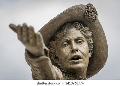Manchester,UK-June 1 2019: bronze statue of Emmeline Pankhurst, a British political activist and leader of the suffragette movement, in St Peter's Square, Manchester.