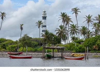 Mandacaru, Brasil - 14 January 2019: The Lighthouse of Preguicas at Mandacaru on Brasil