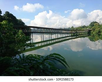 Mandai Lake Road, Singapore - May 17, 2018: A  bridge links both sides of the River Safari park across the Upper Seletar reservoir for visitors to enjoy the scenic landscape and lush green vegetation.