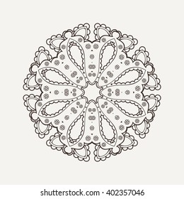 Mandala design. Mehndi lace tattoo. Oriental weave. The circular pattern.