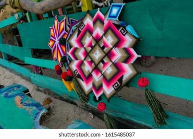 Mandala God Eye Mexican Crafts in Sayulita Mexico, street decoration.