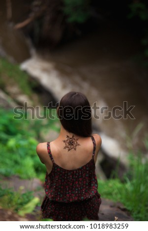 Mandala Henna Tattoo Design On Back Stock Photo Edit Now