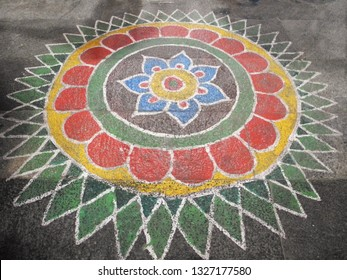 Mandala on the floor of an ancient temple, Tamil Nadu, Kanchipuram city