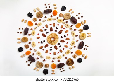 mandala shapded  mix of dried fruits and nuts - symbols of jewish holiday Tu Bishvat
