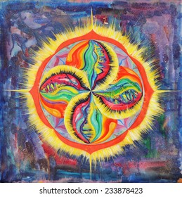 Mandala in space. Round Ornament Pattern.