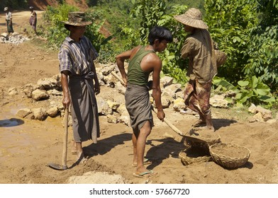 MANDALAY, BURMA- OCT 23: Migrant laborer build a road to China  OCT 23, 2006 in Mandalay District, Burma.