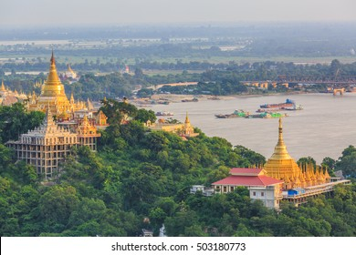 Mandalay city with golden temples and Irrawaddy river,  View from sagaing hill, Sagaing, Mandalay, Myanmar.